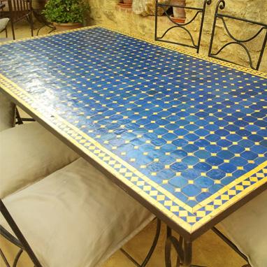 Mesa de comedor marroqu mosaico grande la casa bella - Mesa de comedor grande ...
