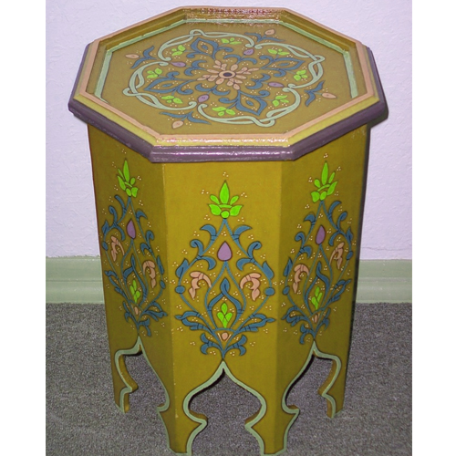 Painted moroccan side table la casa bella for Yellow painted table