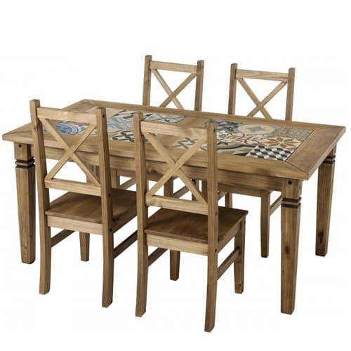 Salvador Tiled Top Dining Table La Casa Bella